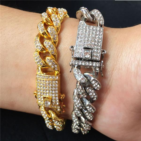best selling Mens Hip Hop Gold Bracelets Jewelry Iced Out Chain Bracelets Rose Gold Silver Miami Cuban Link Chain Bracelet n0210 .