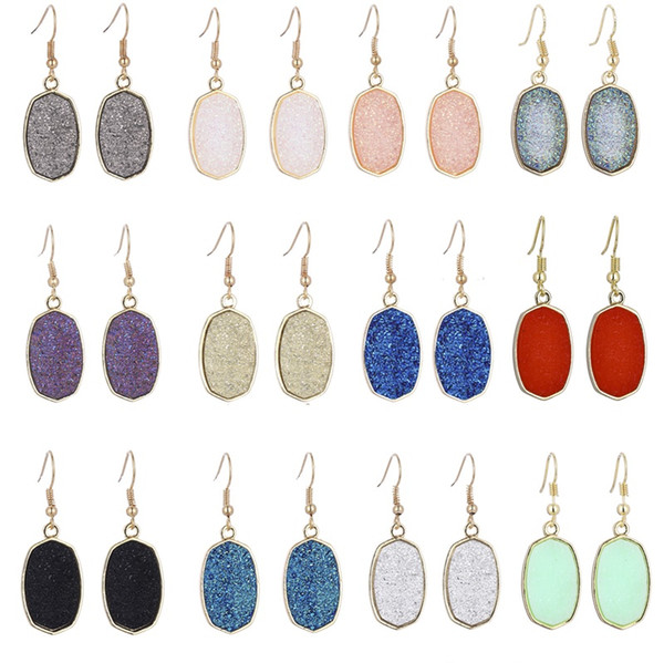 top popular Resin Druzy Drusy Earrings Designer Earrings Oval Hexagon Fashion Dangle Earrings for Women 2021