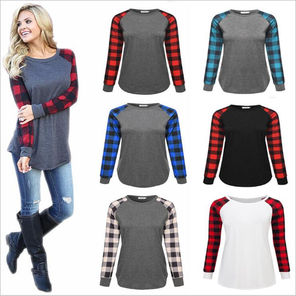 top popular Buffalo Plaid T-shirts Plus Size Long Sleeve Tops Christmas O Neck Shirt Letter Printed Tees Hot Cotton Casual Blouse Xmas Elk Blusas B7616 2021