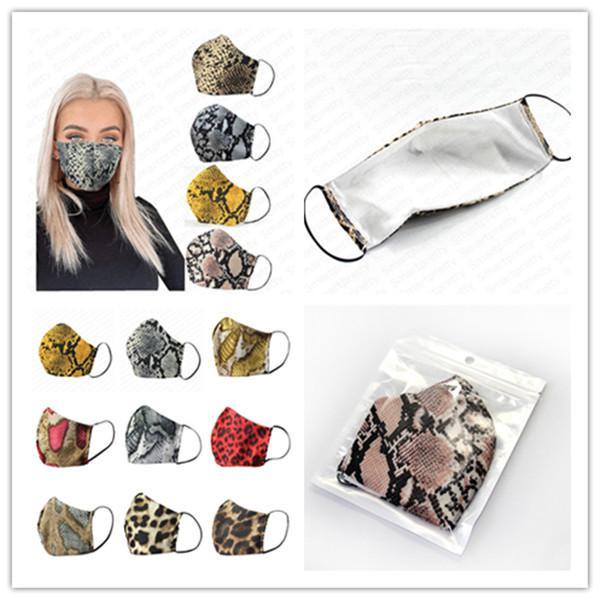 top popular 3D Leopard Print Fashion Face Mask Cotton Cloth Sunproof Dustproof Anti-fog Haze Mouth-muffle Cover Breathable Respirator Facemasks E41303 2020