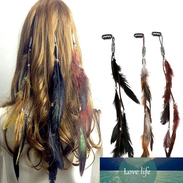 best selling Indian Festival Feather Hippie Headpiece Tassel Hair Comb Clips Boho Head Band Hair Accessories Decors Wholesale