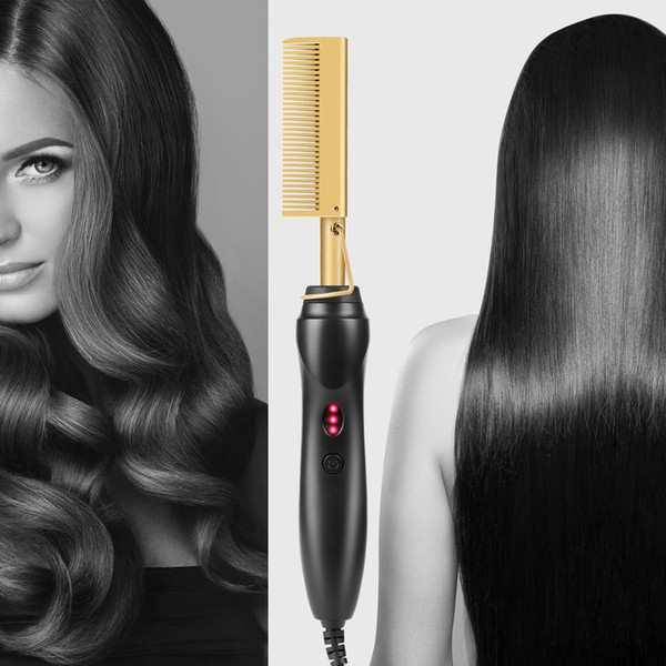 top popular Hot Electric Hair Curler Comb Wet and Dry Use Hair Curling Iron Straightener Comb Copper 110-240V Hair Styling Tools 2021