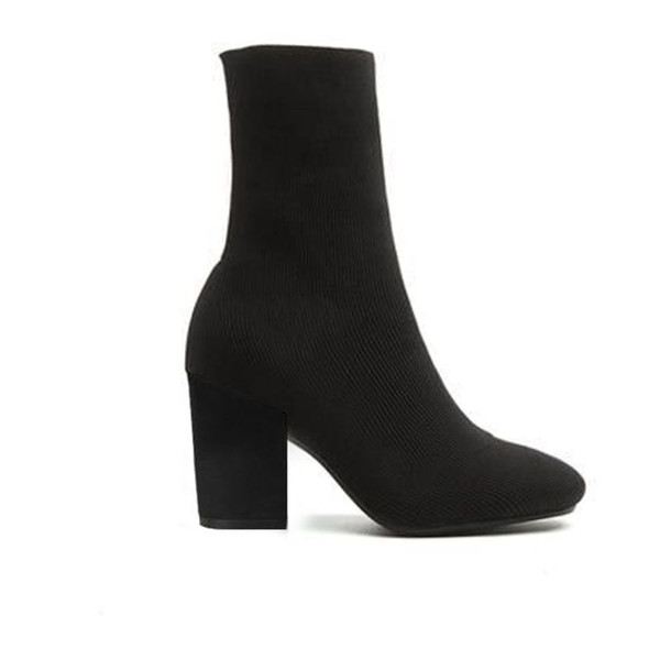 top popular High heel boots sexy woman shoes in autumn and winter Knitted elastic boots Thick heel socks boots lady Letter high heels Large size 35-42 2020