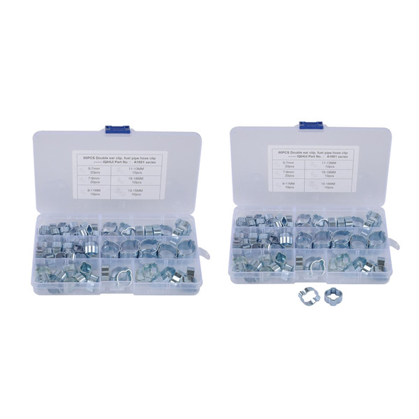 best selling 160pcsDouble Ear Clamps O Clips Mikalor Water Fuel Air Hose Assortment Box
