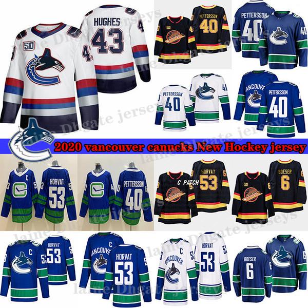 top popular Vancouver Canucks #40 Elias Pettersson #43 Quinn Hughes #6 Brock Boeser #53 Bo Horvat 33 Henrik Sedin 10 Pavel Bure Hockey Jerseys 2020