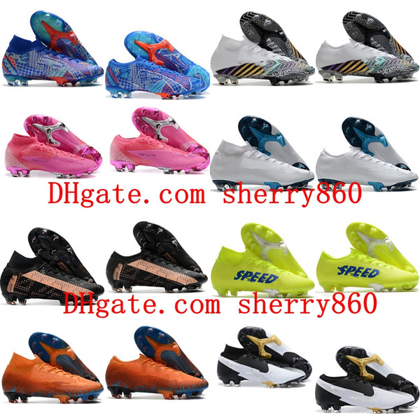 top popular Mens Soccer Cleats Mercurial Superfly 7 Elite FG SE11 Sancho Football Boots high ankle Soccer Sneakers Shoes CR7 Neymar 2020