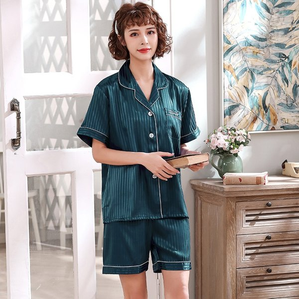 Short-sleeved Dark Green Ladies Thin Str