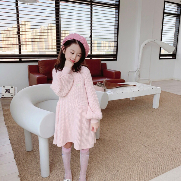 best selling free shipping Toddler Baby Kids Clothes Long Sleeve Sweater Dress Warm Winter Kids Girl Party Wear shirt Princess 2-12Y