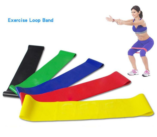 best selling 5pcs 600*50mm Resistance Rubber Loop Exercise Bands Set Fitness Strength Training Gym Yoga Equipment Elastic Bands with carry bag