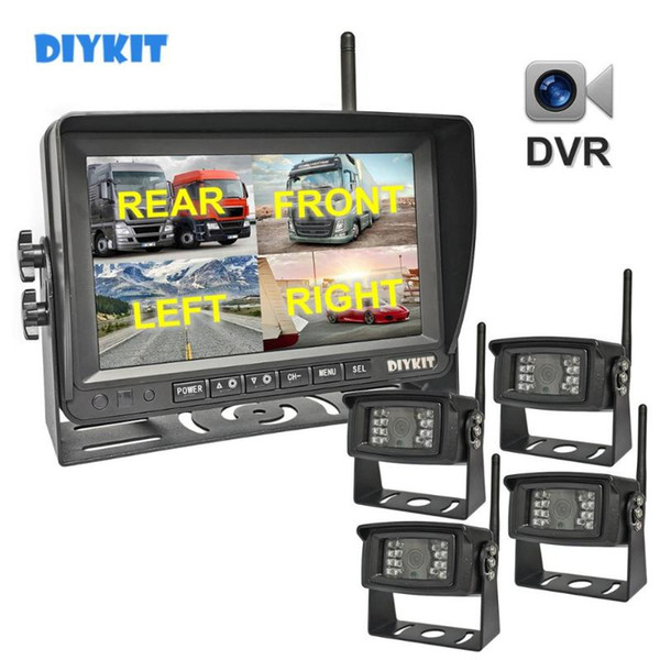 """top popular DIYKIT Wireless 7"""" 1280x720 AHD Truck 4ch Recorder Monitor HD Night Vision Reverse Backup Wifi LED Camera for Bus Car Truck RV 2021"""