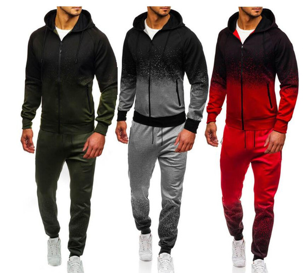 best selling Men's leisure sports suit men's gradual stripe European and American sportswear jacket tights autumn jogging outdoor suit fashion is very po