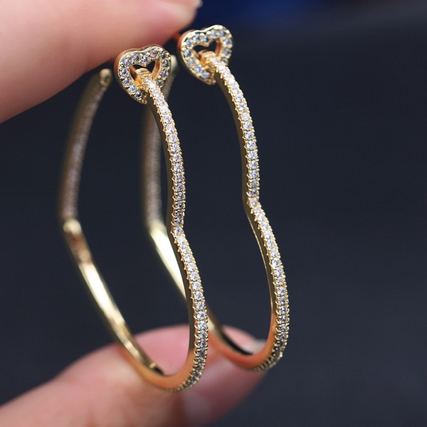 best selling Vintage Hollow Big Heart hoop Earrings Pave white Cubic Zircon Gold color Charm Simple geometry Earring Women Party Jewelry 200924