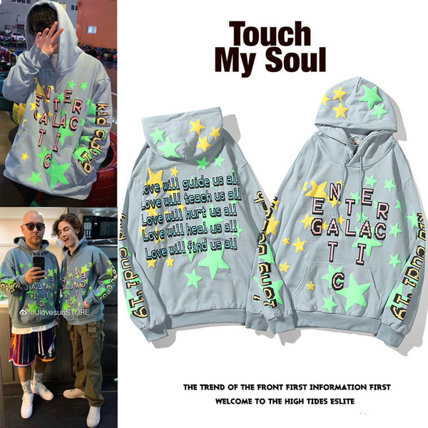 best selling KANYE CPFM KID CUDI joint album Luminous foaming five-pointed star Luminous high street sweater hoodie