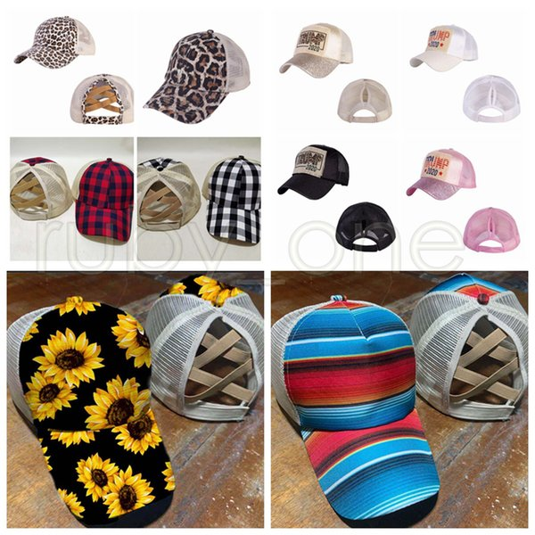 top popular Trump 2020 Baseball Cap Ponytail Baseball Hat Criss Cross Washed Trucker Caps Sunflower Leopard Hats Snapback Party Hats Supplies R3513 2021