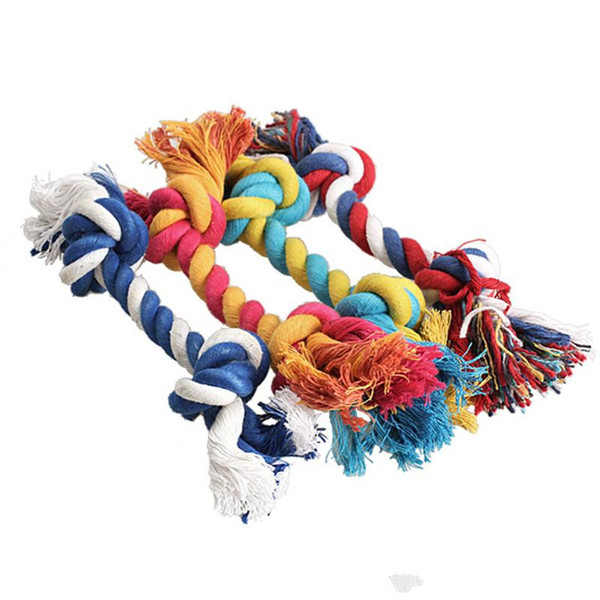 top popular 2020 Pets dog Cotton Chews Knot Toys colorful Durable Braided Bone Rope 18CM Funny dog cat Toys 2021