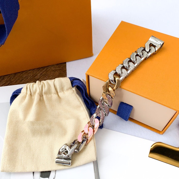best selling Pink Diamond Bracelet Silver Buckle Bracelet Fashion Unisex Charm Bracelet High Quality Stainless Steel Chain Supply