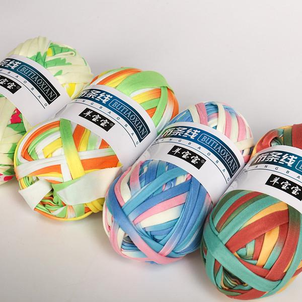 top popular 100g ball Colourful DIY Crochet Cloth Yarn for Hand Waved Basket Carpets Cotton Yarn Worsted soft yarn 2021