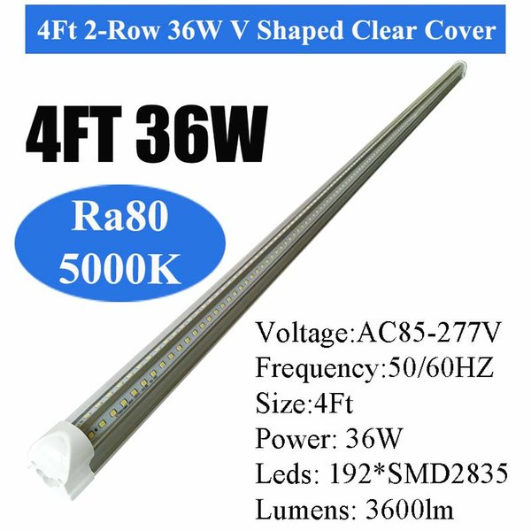 5000K 4Ft 36W V-Shaped Clear Cover