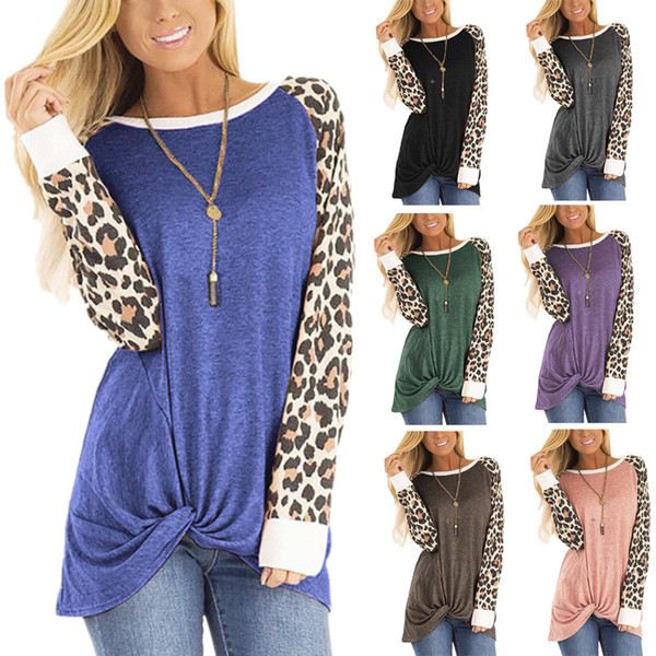 best selling 2020 New Autumn Women's sweatshirts Clothing Cheap China wholesale Leopard print twisted long-sleeved T-shirt round neck loose top