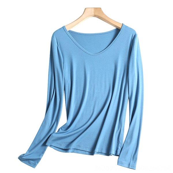 V-pescoço liso azul