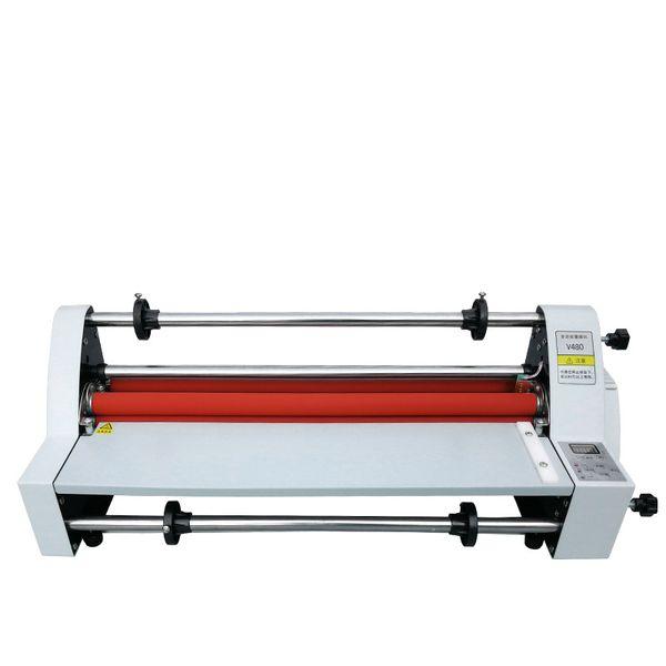 top popular Chinese Manufacturer V350 Laminator Roller Machine 450mm Electric Digital display Industrial Grade Hot Cold Roll Laminator 2021
