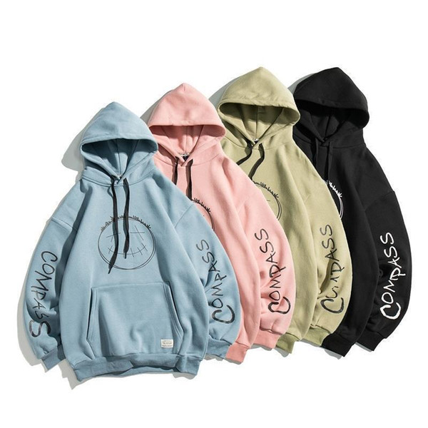 top popular 2020 autumn new couple casual loose sweater men and women all-match Japanese hip-hop smiley face hooded top 2020