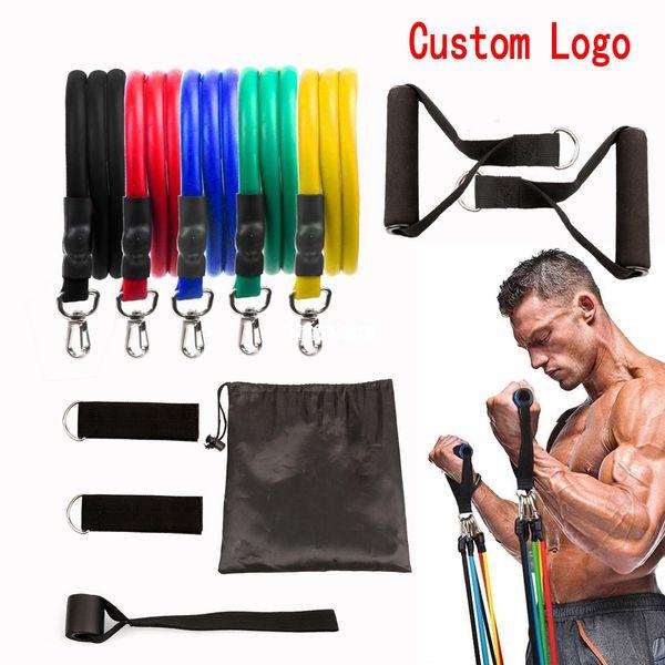 best selling Custom 11 pcs Set Pull Rope Latex Fitness Exercises Resistance Bands Elastic Exercises Body Fitness Strength Resistance Bands FY7007