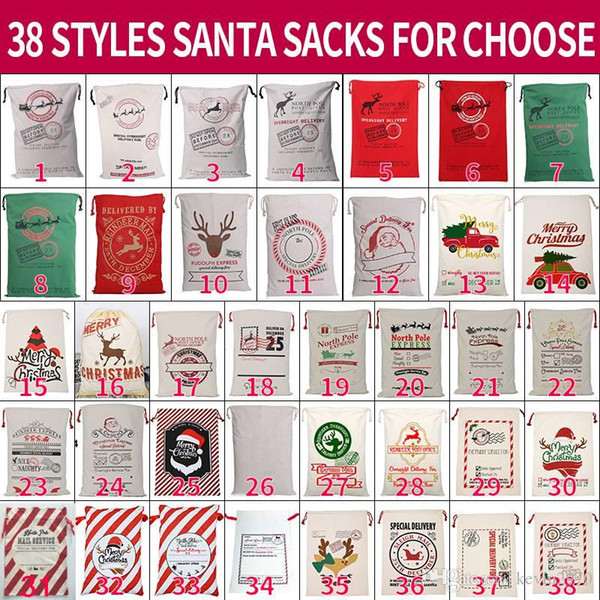 best selling Christmas Santa Sacks 38 Styels Canvas Cotton Bags Large Organic Heavy Drawstring Gift Bags Personalized Festival Party Christmas Decoration