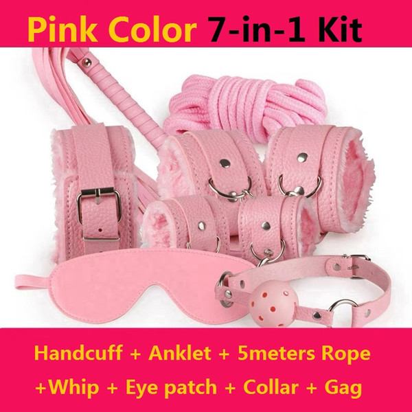 best selling 7-in-1 kit Bondage set for foreplay sex games red fur handcuffs blindfold handcuffs ankle cuff collar Leather whip ball gag 5meters rope