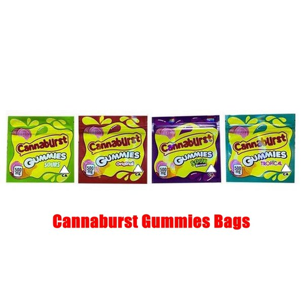 best selling New 4 types 500mg Cannaburst edible packaging Cannaburst gummmies packaging smell proof bags Sour Gushers edibles empty candy mylar bags