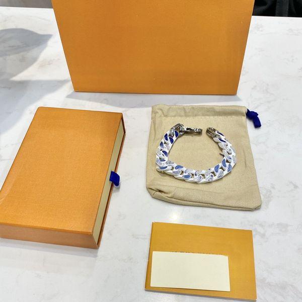 top popular Blue Sky Cloud Bracelet Dyeing Gradient Blue Bracelet High Quality Titanium Steel Bracelet for Man and Woman Jewelry 2021