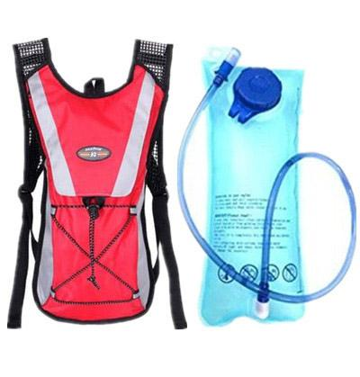 Red backpack + water bag