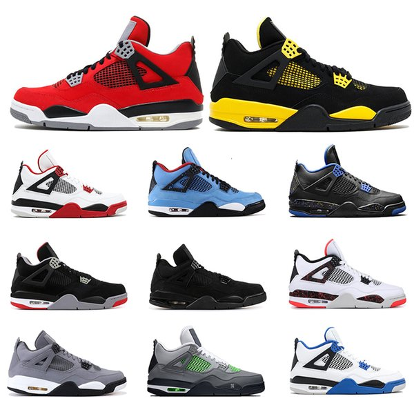 basketball shoes 4s for mens mushroom cactus jack tattoo bred fire red thunder neon alternate cool grey mens sports sneakers size 7-13, Black