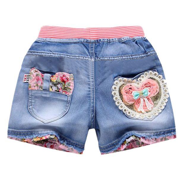 top popular Summer new children's clothing girls denim shorts fashion girls short princess jeans children pants girls shorts flower girl clothing 2021