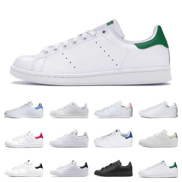 top popular Hot Men Classics Stan Smith Women Flat Sneakers Green White Navy Blue Oreo Rainbow Fashion Mens Trainer Outdoor Sports Shoes Size 36-44 2020