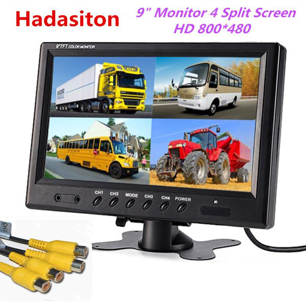 best selling 9 inch 4 Split Screen Car Monitor Headrest monitor 4 video input Use for Truck Bus Car and CCTV Security System