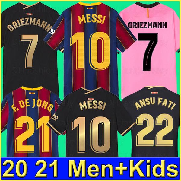 best selling FC BARCELONA soccer jersey BARCA 20 21 camiseta de futbol ANSU FATI 2020 2021 MESSI GRIEZMANN SUAREZ Maillots de football shirt men kids kit