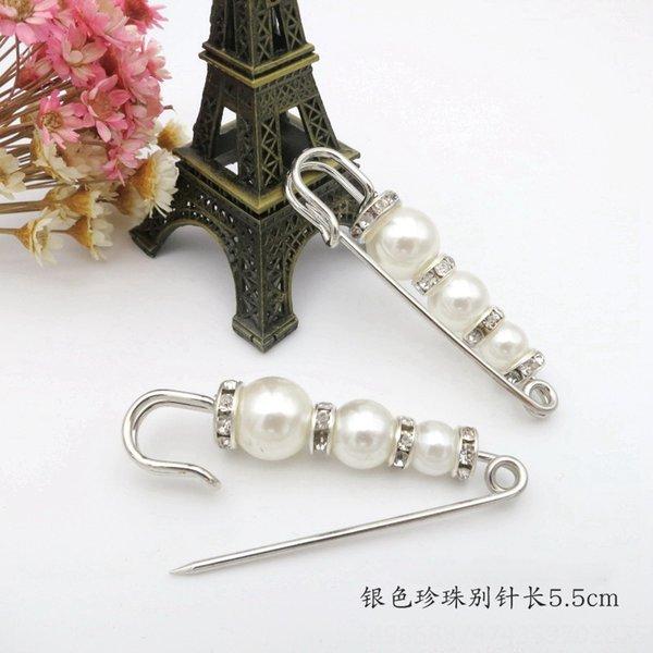 2 # Silver Pearl Pin 5,5 centimetri