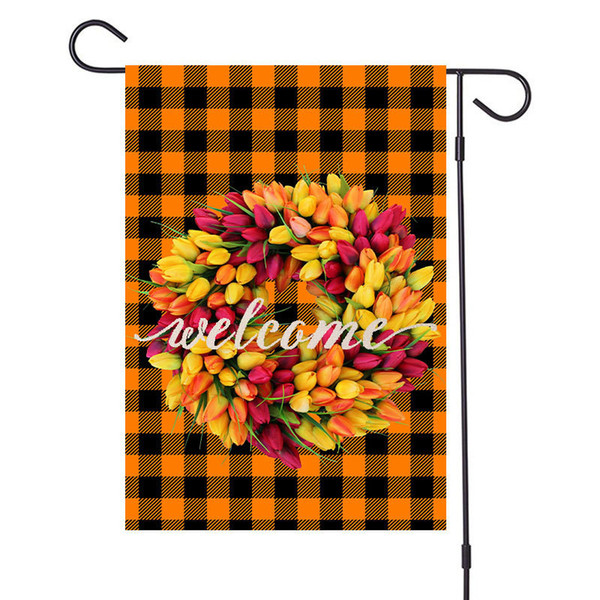 top popular Merry Christmas Flax Garden Flags Xmas Garland Plaid Designers Banners 47x32cm Hanging Banner Flags Party Outdoor Decoration 9 Color D92506 2021