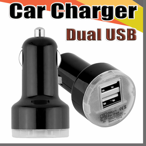 top popular 168 Corlorful Mini Candy dual usb car charger Auto Charger Traveler Adapter for Samsung HTC Blue LED Candy Color 2021
