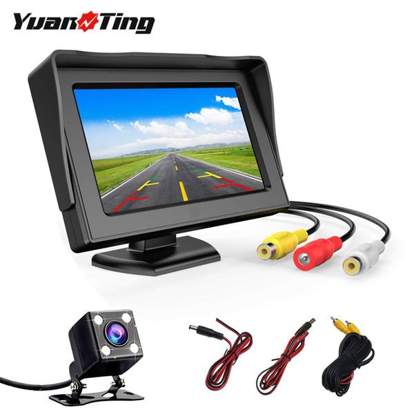 top popular YuanTing Car Rear View 4.3 Inch TFT LCD Color Display Adjustable Monitor Screen + Vehicle Backup LED Waterproof Parking Camera 2021