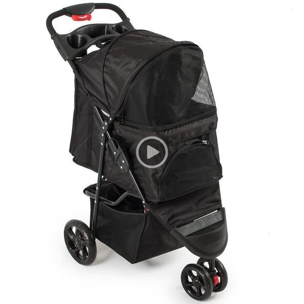 top popular Deluxe Pet Stroller Cat Dog 3 Wheel Walk Jogger Travel Folding Carrier, Black John 08L4 2020