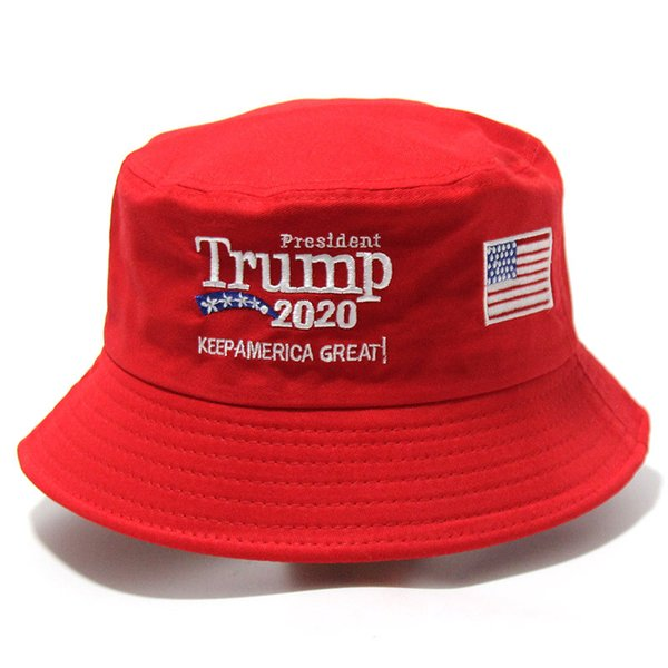 top popular adult 2020 Keep America President Election Great Trump Hat Red White Black Bucket Hat Embroidery Printing Fisherman Cap gorras 2020
