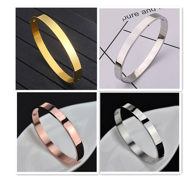 top popular Rose gold 316L stainless steel screw bangle bracelet with screwdriver and stone screws with box Free shipping 2020   womens bracelets 2021