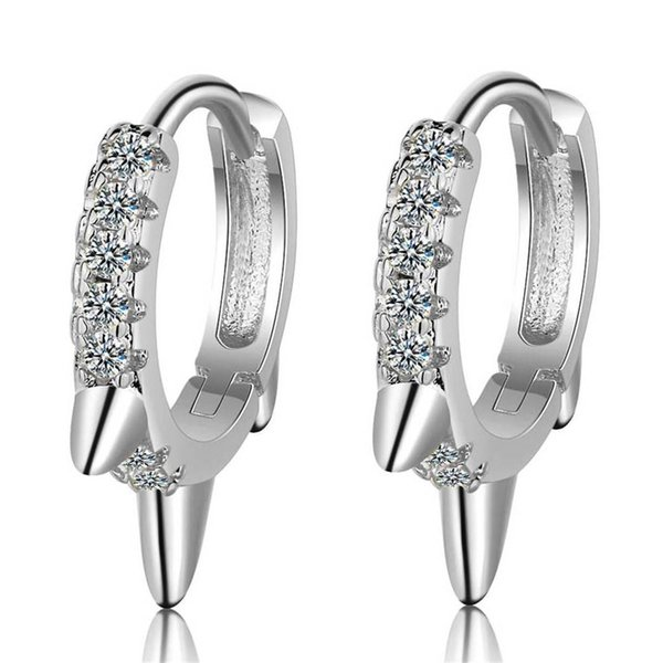 best selling Silver Color Stainless Steel Small Hoop Earrings For Women Cubic Zirconia Korean Fashion Party Jewelry Accessories Gift EH475