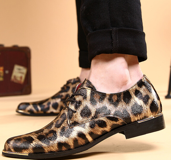 Fashion Men's Shoes Stree Fashion Leopard Print Casual PU Leather Shoes Wedding Dress Shoes High Quality NEW cheap British fashio men shoes men's wedding shoes leather shoes Prom shoes for bridegroom shoes