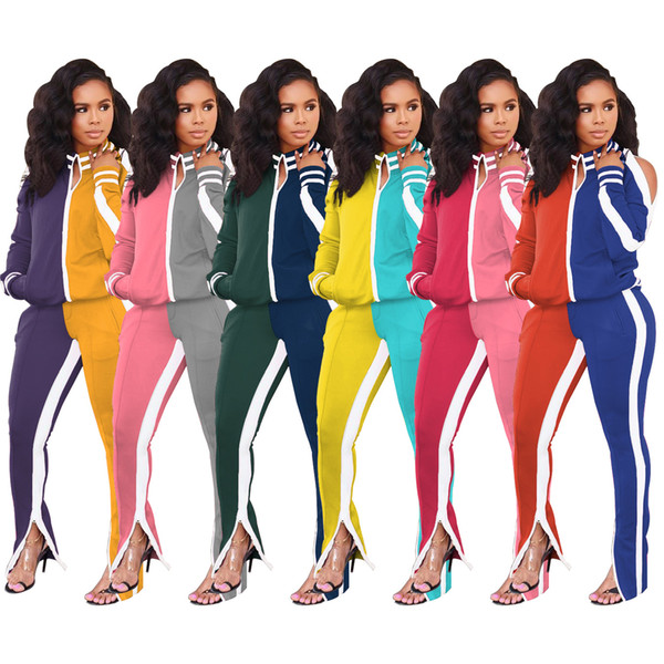 top popular Active Wear Patchwork Women's Sets Cut Out Sleeve Zipper Top Slit Flare Pants Suit Tracksuit Two Piece Set Fitness Outfit 2021