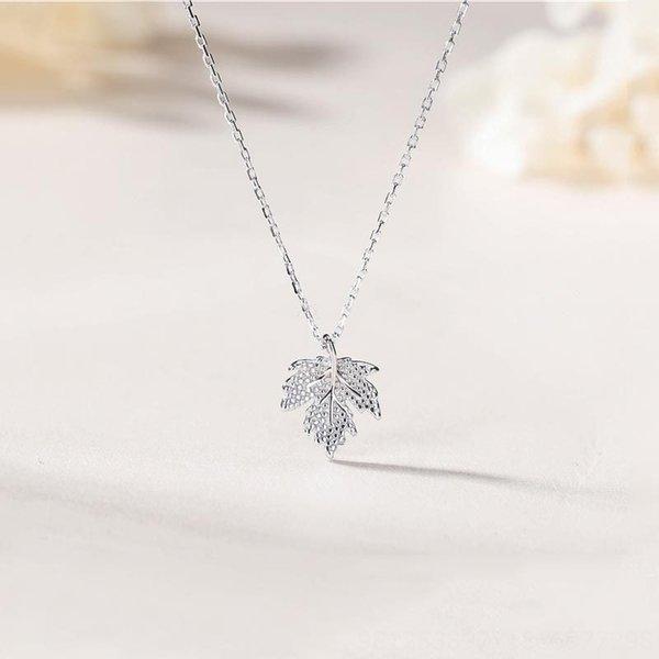 Ahornblatt-Halskette-300 Silber überzogenes Pl