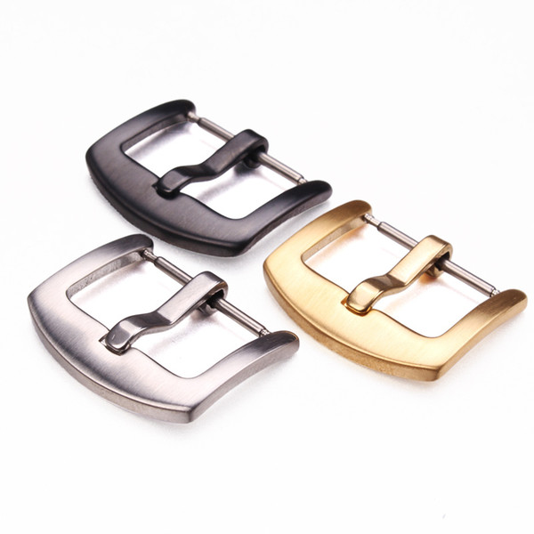 best selling Stainless Steel Watchband Buckle 18 20 22mm Men Silver Black Metal Watch band Strap Clasp Accessories