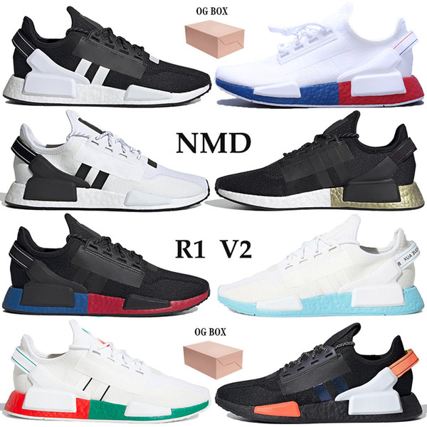 top popular With Box Men Women Running Shoes NMD R1 V2 runner PK Sneakers black white blue metallic gold Carbon Shock Yellow mexico city Trainers 2021